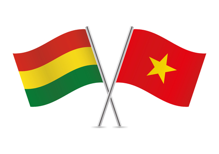 Bolivia and Vietnam flags. Vector illustration.