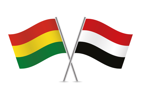 Bolivia and Yemen flags. Vector illustration.