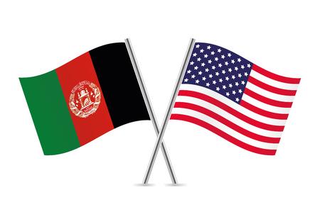 Afganistan e bandiere americane. Illustrazione vettoriale.