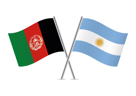Afganistan and Argentina flags. Vector illustration.