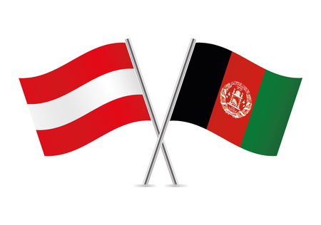 Austria and Afganistan flags. Vector illustration.