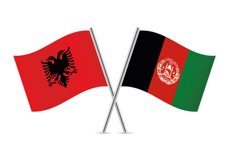 Albania and Afganistan flags. Vector illustration. Illustration