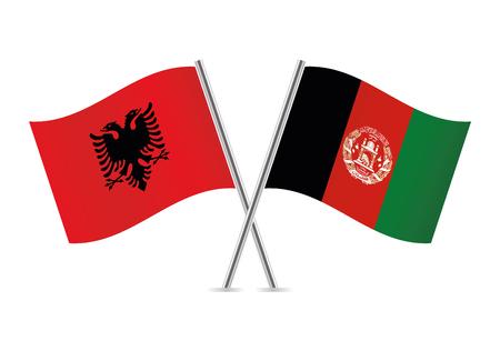 Albania and Afganistan flags. Vector illustration. Illustration