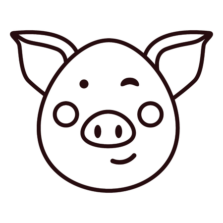 Pig face icon. Pig outline, vector illustration.