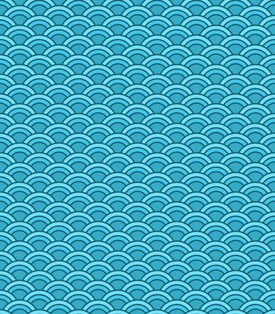Seamless abstract wave pattern. Circle pattern. Blue color ornament. Vector background.