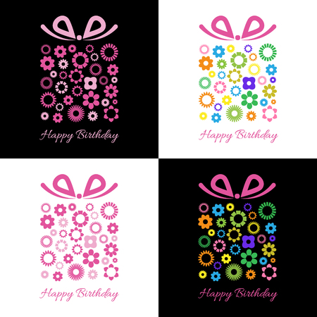 Gift box with floral pattern. Birthday Card with gift box and small flowers. Vector illustration.