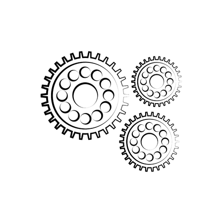 Gear outline icon. Isolated on white background. Vector illustration.