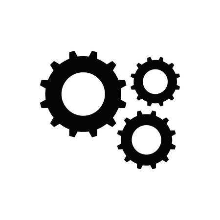 Gear black icon. Isolated on white background. Vector illustration.