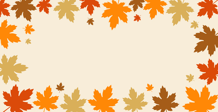 Autumn background with fall leaves border design. Vector illustration.