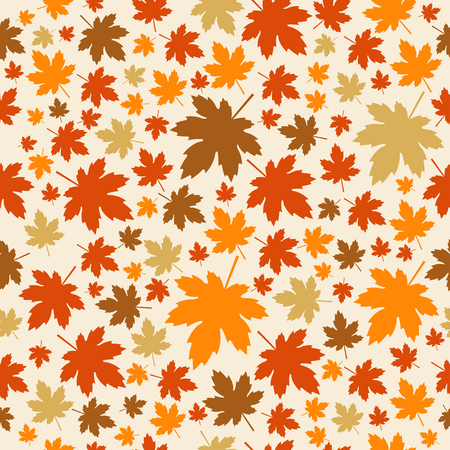 Maple Leaves seamless patern. Autumn vector background.