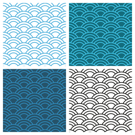Seamless abstract wave pattern. Circle pattern, ornament. Vector background. Ilustracja