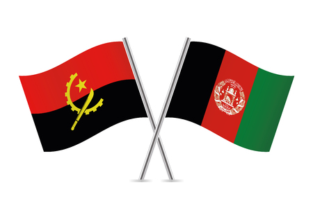 Angola and Afganistan flags. Vector illustration. Ilustracja