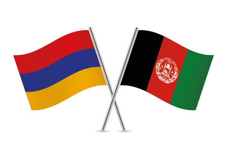 Armenia and Afganistan flags. Vector illustration.