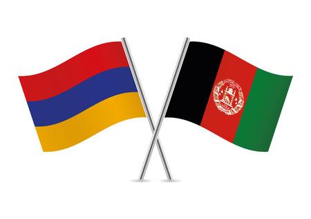 Armenia and Afganistan flags. Vector illustration.