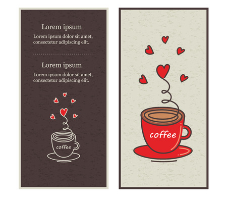 Ð¡afe menu design illustrated a cup of coffee.  Vector illustration. Illustration