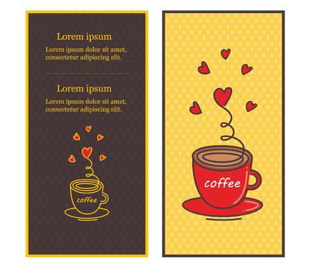 Ð¡afe menu design illustrated a cup of coffee. Vector illustration.