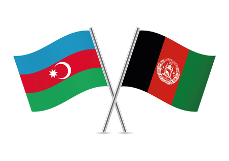 Azerbaijan and Afganistan flags. Vector illustration.