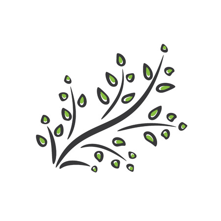 Branch with green leaves. Vector illustration.