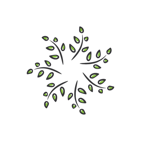 Green leaves in a swirl circle logo template. Floral ornament.  Vector illustration.
