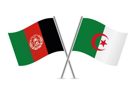 Afganistan and Algeria flags. Vector illustration. Ilustrace