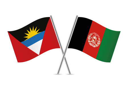 Antigua and Barbuda and Afganistan flags. Vector illustration.