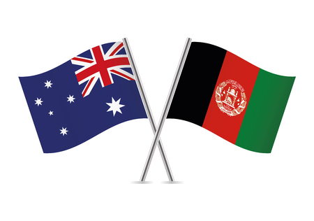Australia and Afganistan flags. Vector illustration.