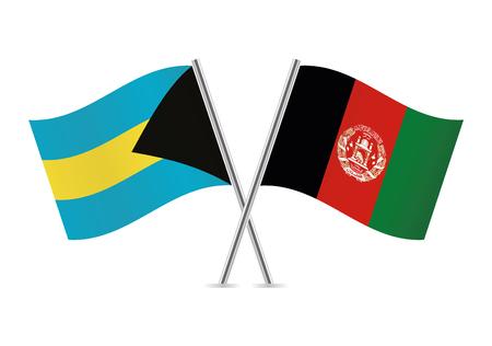 Bahamas and Afganistan flags. Vector illustration.