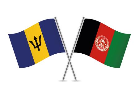 Barbados and Afganistan flags. Vector illustration. Illustration