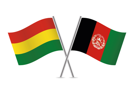 Bolivia and Afganistan flags. Vector illustration. Ilustracja