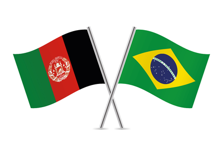 Afganistan and Brazil flags. Vector illustration.