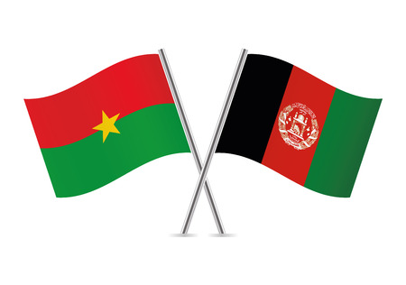 Burkina Faso and Afganistan flags. Vector illustration. Ilustracja