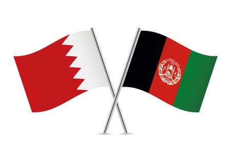 Bahrain and Afganistan flags. Vector illustration.