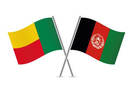 Benin and Afganistan flags. Vector illustration.