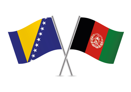 Bosnia and Herzegovina and Afganistan flags. Vector illustration. Ilustracja