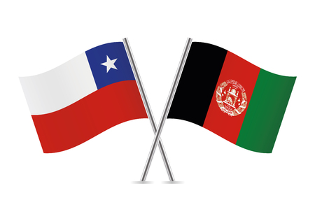 Chile and Afganistan flags. Vector illustration.