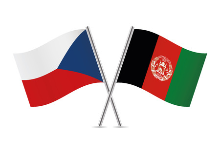 Czech and Afganistan flags. Vector illustration. Ilustracja