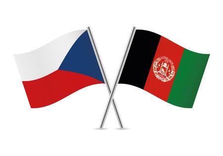 Czech and Afganistan flags. Vector illustration. Illustration