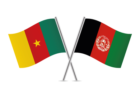 Cameroon and Afganistan flags. Vector illustration. Ilustracja