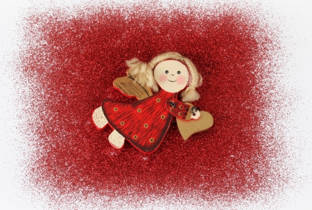 Red glitter with angel abstract background photo