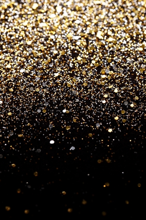 glint: Christmas Gold and Silver Glitter background. Holiday abstract texture Stock Photo