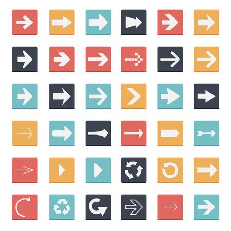 orientation marker: Square Arrow Button Flat Design