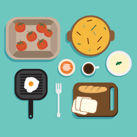 Flat Illustration Breakfast Vector