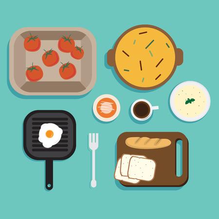 Flat Illustration Breakfast Vector