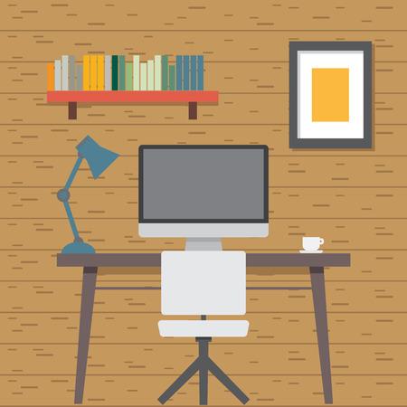 apple computer: Flat Illustration Work Room Illustration