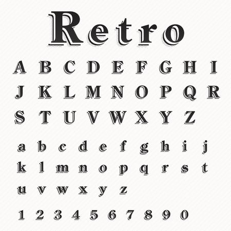 retro font: Retro Font Vector Set
