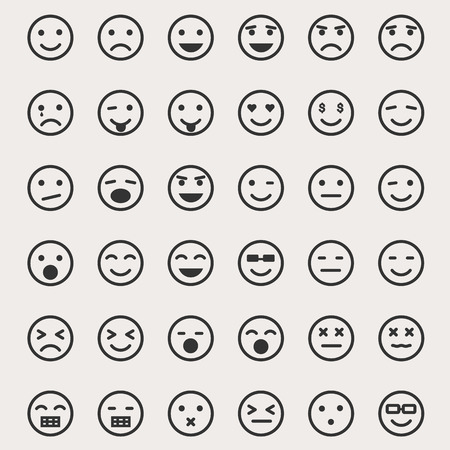 bored face: Emoticons Vector Set