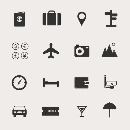 plane icon: Travel Icon Set Illustration