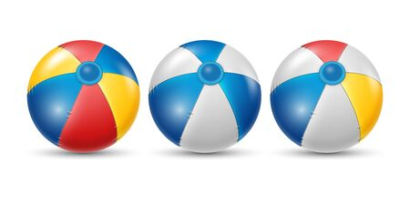 Colorful beach ball with different color set. white, yellow, and blue beach ball isolated on white background. Vector illustration  イラスト・ベクター素材