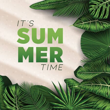 Vector Summer Holiday Illustration with Tropical Leaves Typography Letter on Beach Sands Background.  イラスト・ベクター素材