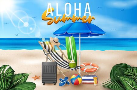 Vector Summer Holiday Illustration with Beach Ball, Palm Leaves, Surf Board and Typography Letter on Blue Ocean Landscape Background.
